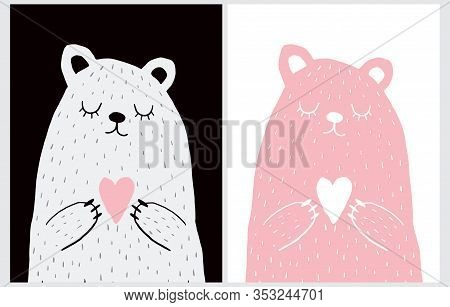 Cute Hand Drawn Vector Illustration With Bear Holding Heart. Sweet Nursery Art For Card, Invitation,
