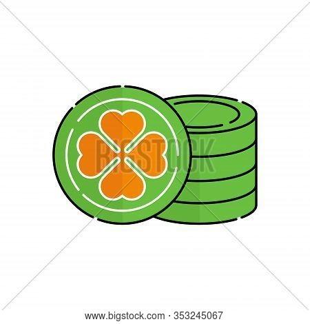 St. Patricks. St. Patricks icon. St. Patricks vector. Gold Coin icon vector. St. Patricks Gold Coin symbol. St. Patrick's Day icon. St. Patricks web icon. St. Patrick's Day vector icon trendy flat symbol for website, sign, mobile, app, UI.