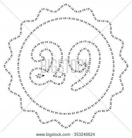 Black White Outline Calendar February 29 In The Circle Weight Year, Once Every 4 Years, Date Leap Da