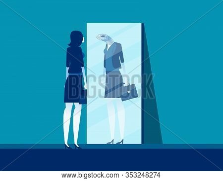 Businesswoman With Mirror Reflect Yourself. Concept Business Vision Vector Illustration, Fraud And D