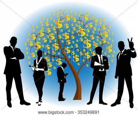 People Silhouettes And Money Tree With Dollar Symbols. - Vector Illustration