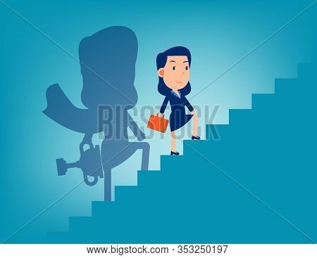 Leader And Stairway To Success. Successful Business Concept, Flat Kid Cartoon Vector Design.