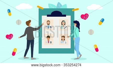 Patients Choose Doctor In Hospital Or Clinic, Healthcare And Medicine Vector Illustration. People Ma