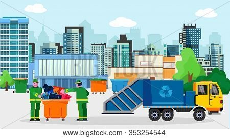 Waste Disposal Removal Recycling Concept Vector Illustration. Garbage Truck Van Dustcart, Dumpsters