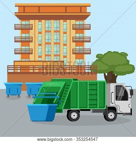 Garbage Green Truck Van Car Dustcart Collections Trash And Dumpsters Cans Near City Dwelling House V