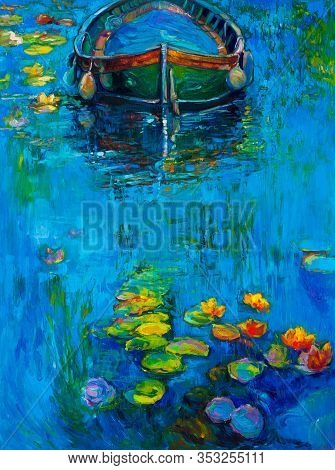 Original Oil Painting Of Boat And Water Lilies In River On Canvas.modern Impressionism