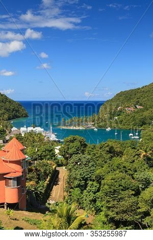 Marigot Bay.  The View Across Marigot Bay In St Lucia.  Marigot Bay Is Located On The West Coast Of