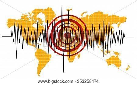 World Arthquake Background. Seismogram For Seismic Measurement.