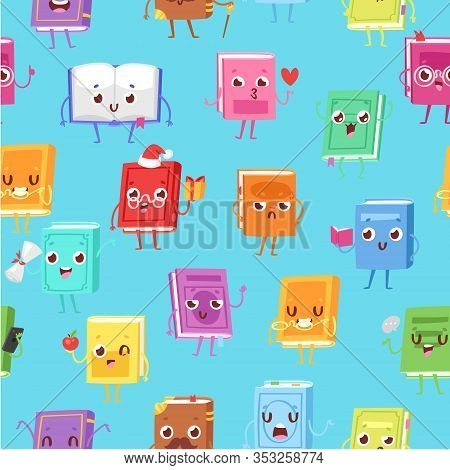 Cute Kawaii Books Seamless Pattern For Back To School Decorations, Web, Print, Textile Or Interior.