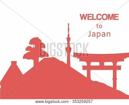 Welcome To Japan Travel Background With Japanese Montains, Landscape And Pagoda Vector Illustration