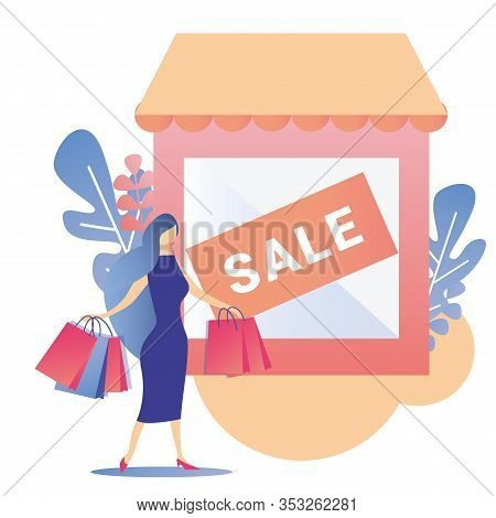 Woman Shopping Sale Shop Proposition Flat Banner Vector Fashion Elegant Female Character Holding Pap