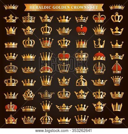 Big Set Of Golden Royal Crown Tiara King Queen Headwear Heraldic Silhouette Icons