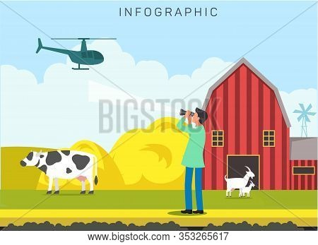 Farmyard Worker, Job Flat Vector Banner Template. Farming Industry Worker Looking At Helicopter In S