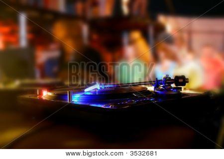 Vinyl Disk Player In Night Club