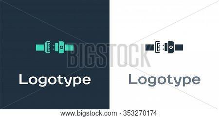 Logotype Safety Belt Icon Isolated On White Background. Seat Belt. Logo Design Template Element. Vec