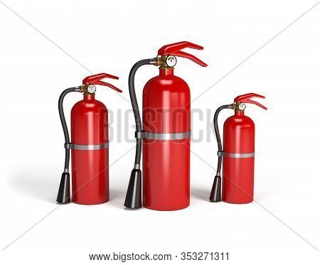 Three Red Fire Extinguishers. 3d Image. White Background.