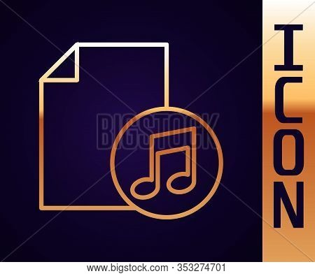 Gold Line Music Book With Note Icon Isolated On Black Background. Music Sheet With Note Stave. Noteb