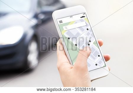 Car Or Ride Share Mobile App In Smartphone. Carsharing, Ridesharing Or Carpool Service. Sharing Econ