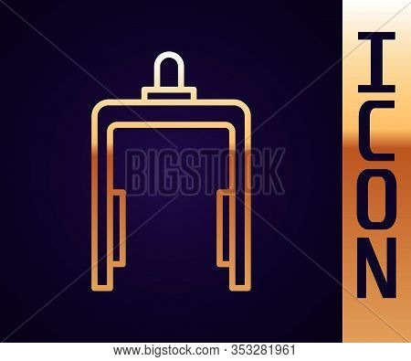 Gold Line Metal Detector In Airport Icon Isolated On Black Background. Airport Security Guard On Met