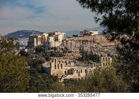 Acropolis Propylaea, Erechtheion And Herodium Odeon, View From Philopappos Hill. Athens, Greece.