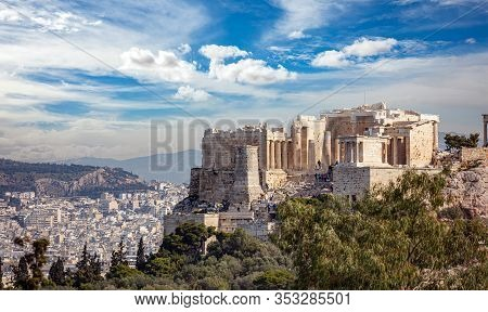 Acropolis Propylaea Gate And Monument Agrippa View From Philopappos Hill. Athens, Greece.