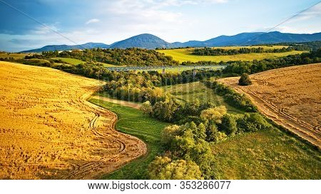 Summer Landscape With Fields, Meadows And Railroad Bridge In Mountains