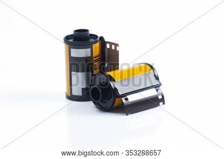 Photo Film Cartridge On The White Background