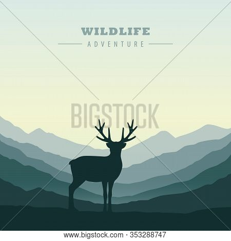 Wildlife Adventure Elk In The Wilderness Green Mountain Landscape Vector Illustration Eps10