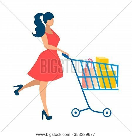 Happy Lady On Shopping Flat Vector Illustration. Woman In Red Dress Faceless Cartoon Character. Shop