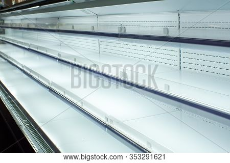 Friday White Empty Shelves Showcase Display Sale. Equipment For Retail Stores.