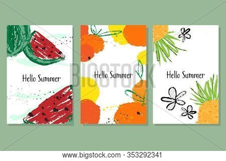 Hello Summer Banner Collection. Summer Layout Design, Greeting Card, Poster, Template Design, Vector