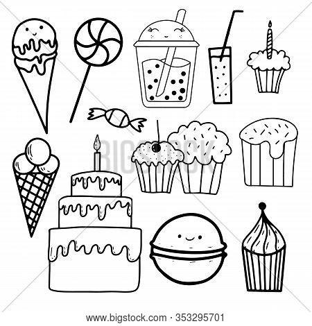Outline Confection Set, Great Design For Any Purposes. Vintage Food Sketch Set. Line Texture Backgro