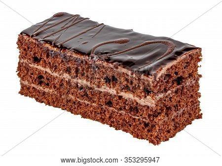 Tiramisu Cake With Three Layers Of Chocolate Biscuit, Brandy Impregnation And Prague Cream Isolated