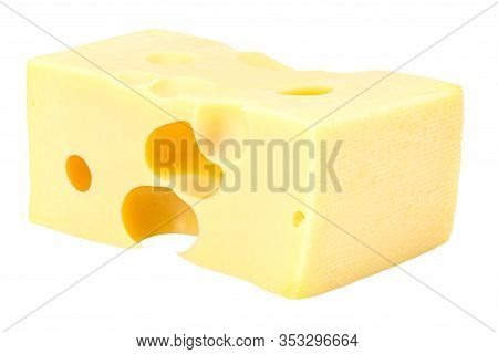 Lying Rectangular Piece Of Maasdam Cheese Isolated On A White Background