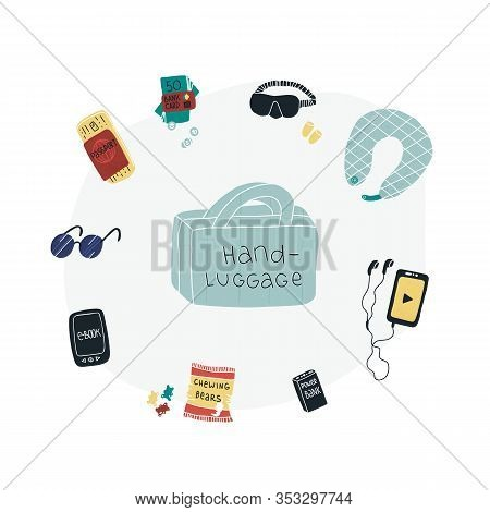 Travel Packing Hand-luggage Fun Vector Set - Power Bank, Electronic Book, Sleep Mask And Ear Muffs,