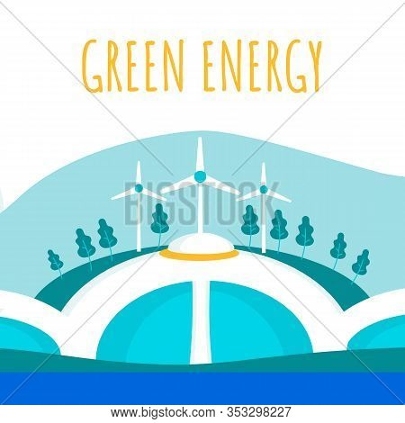 Green Electricity Production Flat Banner Template. Eco-friendly Resources Use. Alternative Power Com