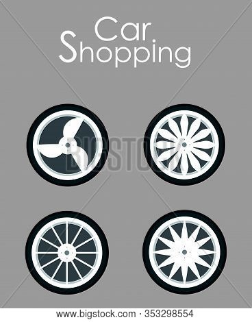 Car Wheels Shopping Flat Vector Banner Template. Automobile Accessories Sale Typography. Seasonal Ti