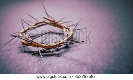 Lent Season,holy Week And Good Friday Concepts -image Of Crown Of Thorns In Purple Vintage Backgroun