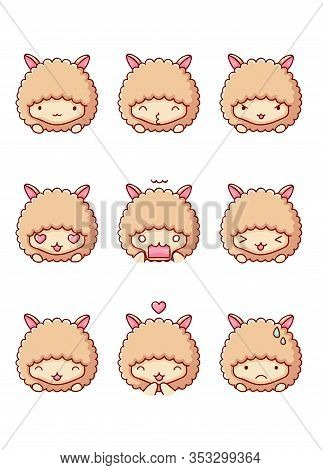 Set Of Emotions Lama Cute Kawaii Isolated On White Background Flat Hand Drawn Cartoon