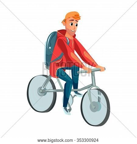 Cartoon Man Ride Bicycle. Male Bicyclist. Cycling Activity. Active Leisure Healthy Lifestyle. Summer