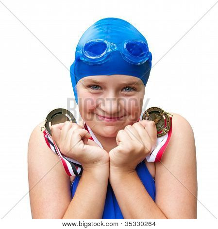 Smiling Girl Proud Of Her Two Swimming Medals