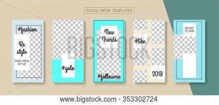 Mobile Stories Vector Collection. Blogger Tech Cards, Social Media Kit Template. Online Shop Rich Vi