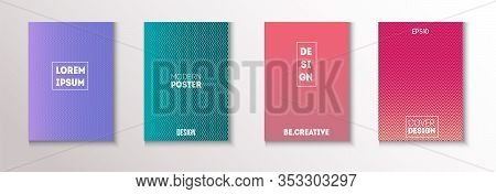 Wavy Minimal Cover Vector Set. Modern Flyer Graphic Design. Pattern Gradient Overlay Business Folder