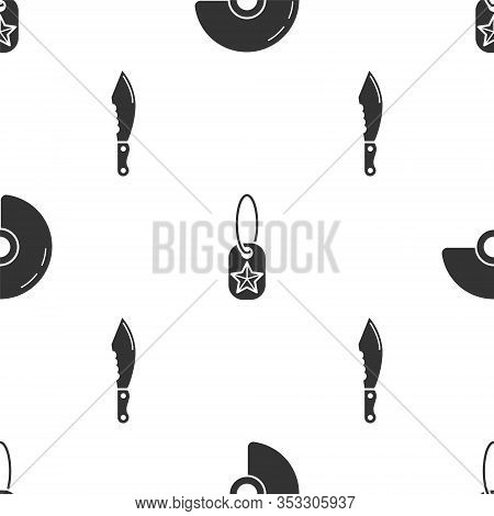 Set Military Helmet , Military Dog Tag And Military Knife On Seamless Pattern. Vector