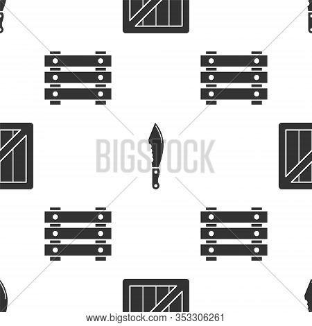 Set Military Ammunition Box, Military Knife And Military Ammunition Box On Seamless Pattern. Vector