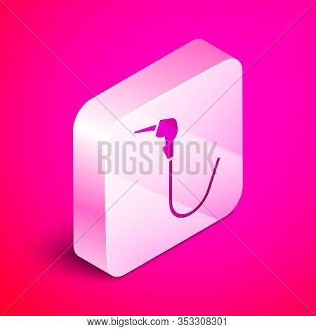 Isometric Gasoline Pump Nozzle Icon Isolated On Pink Background. Fuel Pump Petrol Station. Refuel Se
