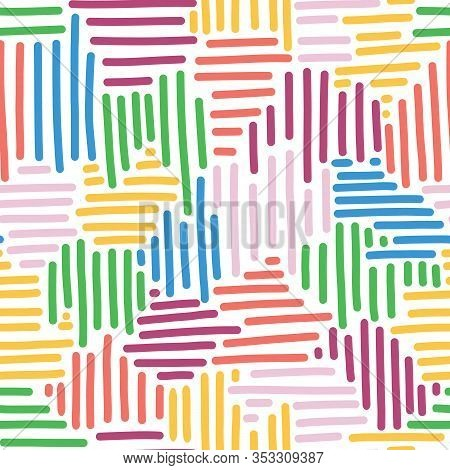 Abstract Vector Background For Kids. Woven Stripes Seamless Pattern. Colorful Collage Puzzle Style B