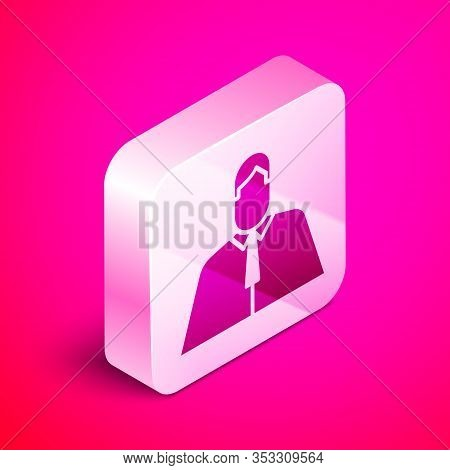 Isometric Lawyer, Attorney, Jurist Icon Isolated On Pink Background. Jurisprudence, Law Or Court Ico