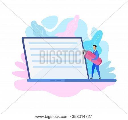 Businessman Holding Usb Drive Vector Illustration. Tiny Man Carrying Flash Stick Cartoon Character.