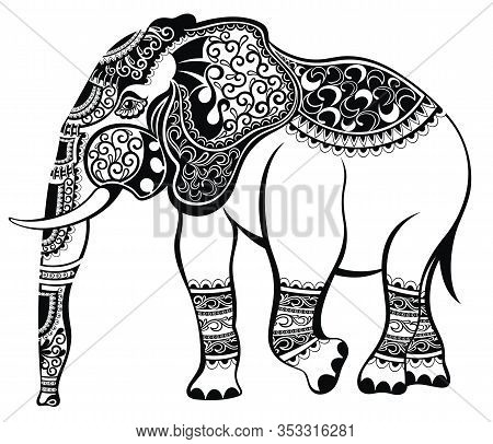 Elephant Head Zentangle Stylized. Hand Drawn Pattern With Elephant Logo.